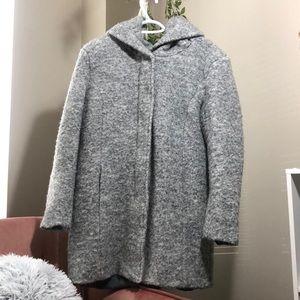 ONLY Hooded Bouclé Wool Coat
